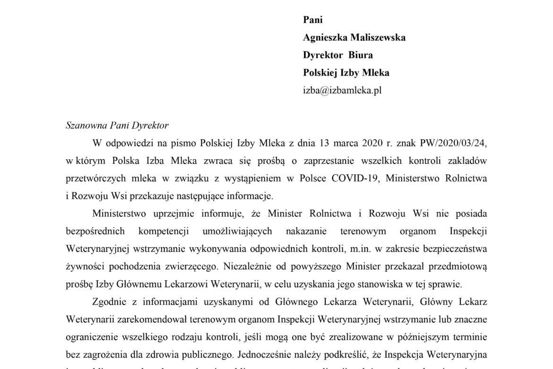 Odpowiedź MRiRW  na pismo Polskiej Izby Mleka dot. o zaprzestaniz wszelkich kontroli zakładów przetwórczych mleka w związku z wystąpieniem w Polsce COVID-19,