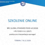"""Zaproszenie na szkolenie pt. """"BRC GLOBAL STANDARD FOOD v8 (2018) I IFS FOOD V.6.1 (2017) praktyczna interpretacja wymagań"""" sfinansowane z Funduszu Promocji Mleka"""