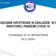 """Szkolenie online pt. """"Zarządzanie kryzysowe w zakładzie  w dobie światowej pandemii COVID-19"""""""