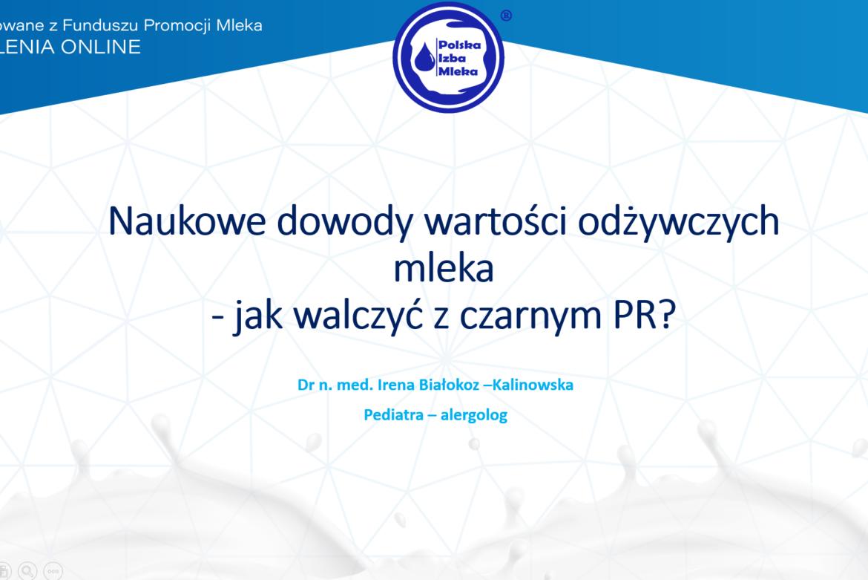 Szkolenie online pt. Naukowe dowody wartości odżywczych mleka - jak walczyć z czarnym PR, sfinansowane z Funduszu Promocji Mleka