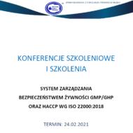 """Zaproszenie na szkolenie pt. """"System zarządzania bezpieczeństwem żywności GMP/GHP oraz HACCP wg ISO 22000:2018"""""""
