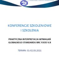 Zaproszenie na szkolenie pt. Praktyczna interpretacja wymagań globalnego standardu BRC Food v.8, sfinansowane z Funduszu Promocji Mleka
