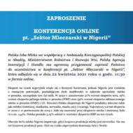 """Zaproszenie – konferencja online pt. """"Sektor Mleczarski w Nigerii"""""""