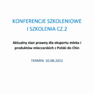 Zaproszenie na szkolenie online pt. Aktualny stan prawny dla eksportu mleka i produktów mleczarskich z Polski do Chin, sfinansowane z Funduszu Promocji Mleka